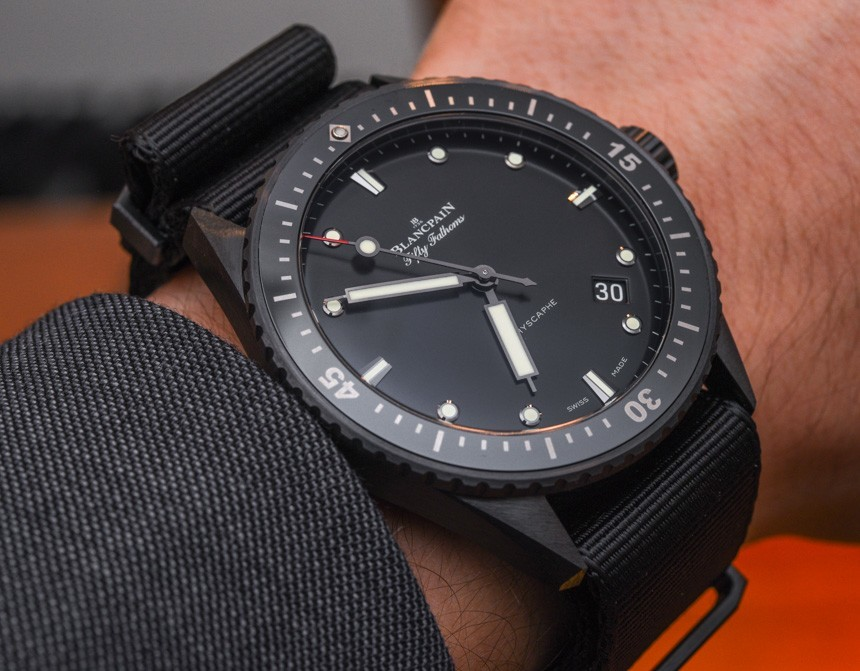 Review 2015 Replica Blancpain Fifty Fathoms Bathyscaphe Watch In Ceramic Hands-On
