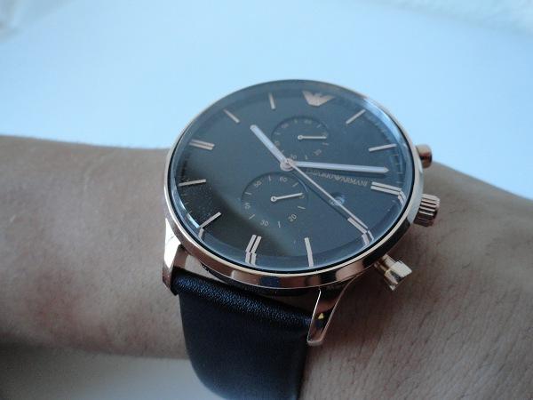 Presenting The Armani With Black Leather Strap Watches